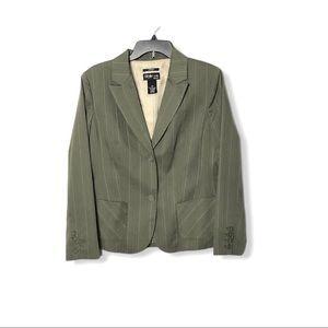 Olive Green Tan Pinstripe Front Pocket Blazer